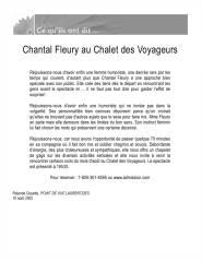 Chantal Fleury au Chalet des voyageurs