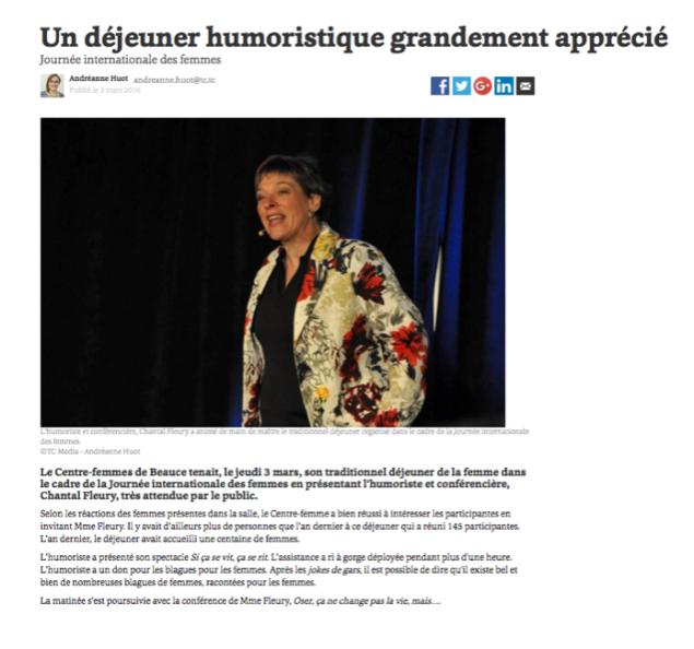 Critique suite au succès avec les femmes de St-Geroges-de-Beauce